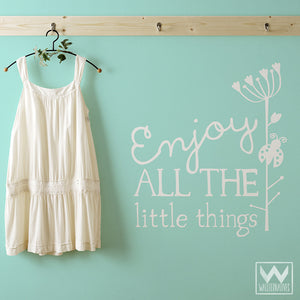 Enjoy the Little Things Inspirational Wall Quotes Vinyl Wall Decals - Wallternatives