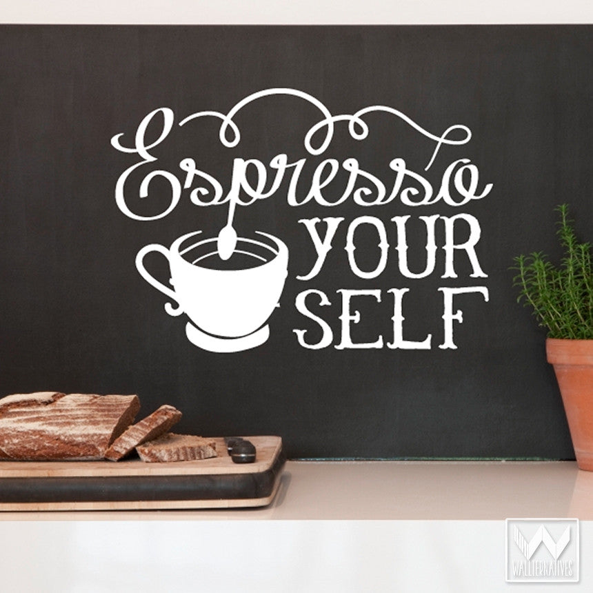 Coffee Kitchen Wall Decor   Espresso Your Self Quote Vinyl Wall Decals    Wallternatives