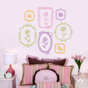 Colorful Girly Framed Floral Vinyl Wall Decals - Wallternatives