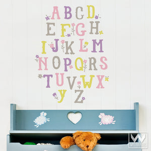 Cute and Colorful Alphabet Letters Vinyl Wall Decals - Wallternatives