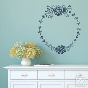 Delicate, Romantic, Vintage, and Shabby Chic Flower Frames Vinyl Wall Decals - Wallernatives