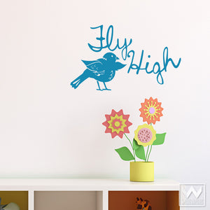 Wall Quotes and Bird Vinyl Wall Decals for Kids Room or Nursery Decorating - Wallternatives