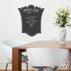 French Menu Chalkboard Vinyl Wall Decals for Kitchen Decor - Wallternatives