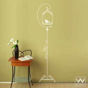 Vintage and Shabby Chic Tall Bird Cage Vinyl Wall Decals - Wallternatives