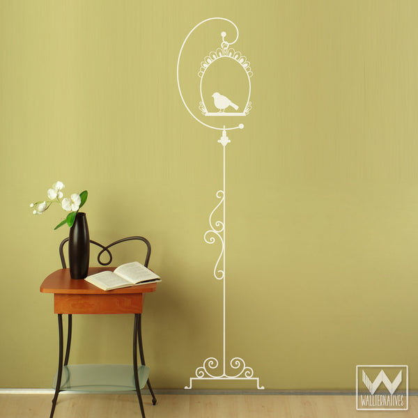 Tall Hanging Bird Cage Vinyl Wall Decal Wall Graphic Wall Art Mural ...