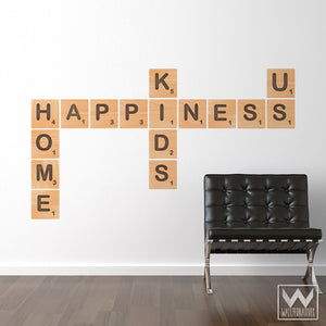 Happiness Alphabet Wood Scrabble Tiles Removable Wall Decals - Wallternatives