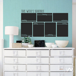 Large Week Schedule Calendar Chalkboard Vinyl Wall Decals for Office, Kitchen, or Dorm - Wallternatives