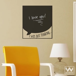 Thought Bubble Chalkboard Vinyl Wall Decals for Writing Notes - Wallternatives