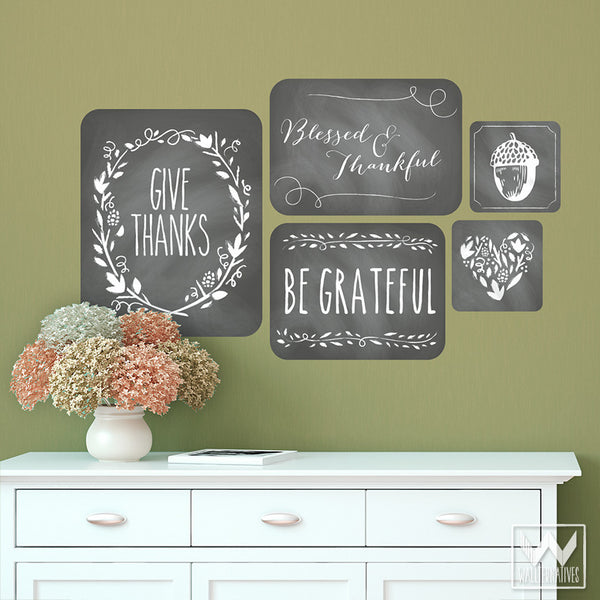 ... Black And White Thanksgiving Quotes Removable Wall Decals    Wallternatives ...
