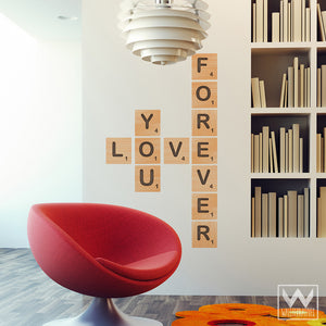 Forever Love Alphabet Scrabble Tiles Removable Wall Decals from Wallternatives