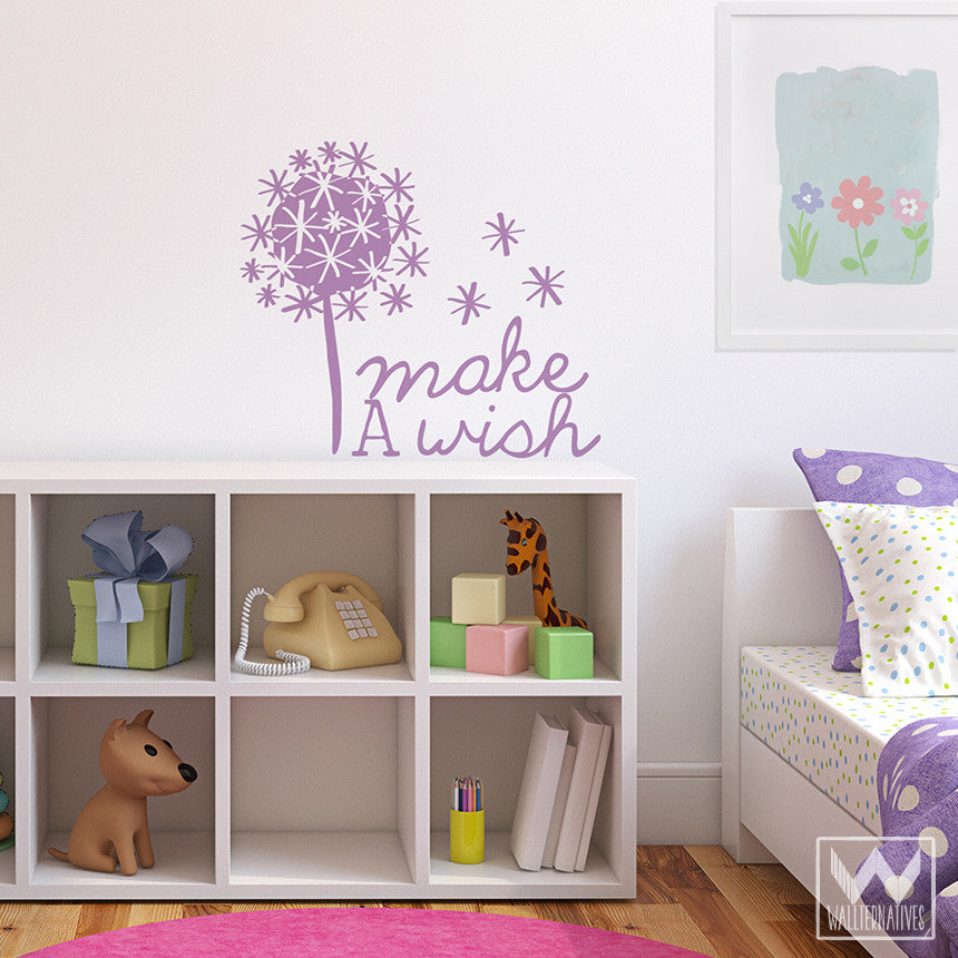 Inspirational Make A Wish Wall Quote Vinyl Wall Decals   Wallternatives