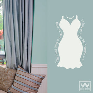 Marilyn Monroe Dress and Wall Quote Vinyl Wall Decals for Dorm Decor or Girls Room - Wallternatives