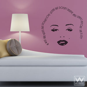 Marilyn Monroe Face and Wall Quote Vinyl Wall Decals for Dorm Room or Girls Room - Wallternatives