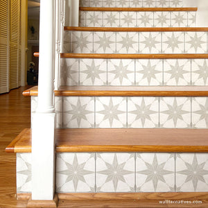 Neutral decor farmhouse style tile stairs decals star tile decals for stairs - Wallternatives wallternatives.com