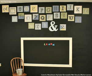 Cute Kids Playroom Decor using Colorful Pink Alphabet Scrabble Letters - Wall Decals from Wallternatives