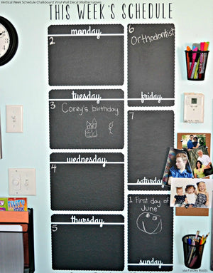 Vertical Week Schedule Chalkboard Vinyl Wall Decals for Kitchen Decor