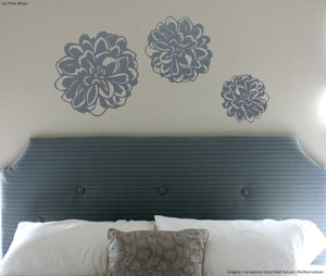Modern Flowers Vinyl Wall Decals - DIY Colorful Wall Art for Dorm Decor from Wallternatives