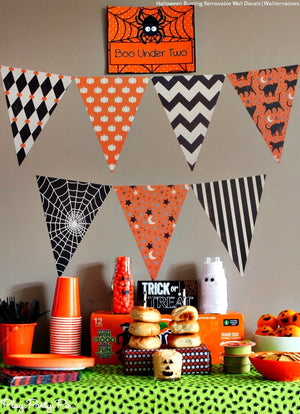 Holiday Party Decor - Halloween Bunting Flags Removable Wall Decals - Wallernatives
