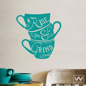 Rise and Shine Coffee Quote Kitchen Wall Mural Vinyl Wall Decals - Wallternatives