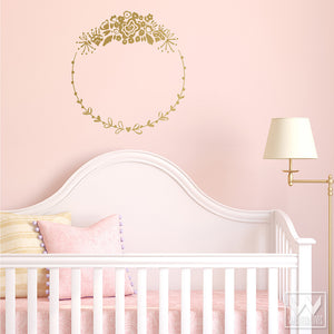 Gold and Pink Girls Room and Nursery Decor - Flower Frame Vinyl Wall Decals