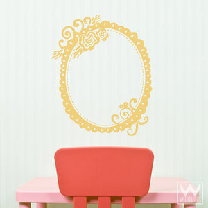 Retro Rose and Flower Frame Vinyl Wall Decals for Cute Kids Room Decor