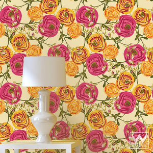 Modern Retro Vintage Shabby Chic Roses Flowers Removable Wallpaper - Wallternatives