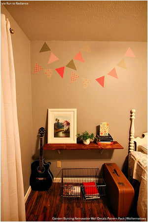 Easy Room Decor - Pink Bunting Flags Vinyl Wall Decals