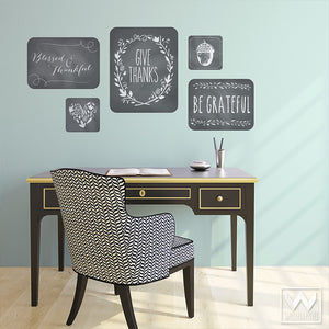 Adhesive Wall Decor with Thanksgiving Quotes Vinyl Wall Decals - Wallternatives