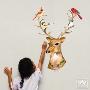 Peel and Stick Dress Up Removable Christmas Reindeer Wall Decals - Wallternatives