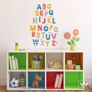 Colorful Alphabet Vinyl Wall Decals for Nursery, School, Playroom, or Kids Room - Wallternatives
