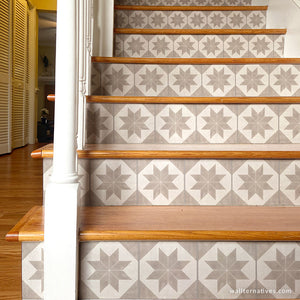 Modern Farmhouse Tiles Removable Wallpaper for Stairs - Wallternatives wallternatives.com