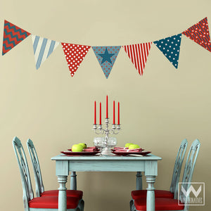 Patriotic Fourth of July Holiday Decorations Removable Wall Decals and Bunting - Wallternatives