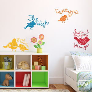 Adhesive Wall Mural Vinyl Wall Decals - Bird Designs for Kids Room Decor - Wallternatives
