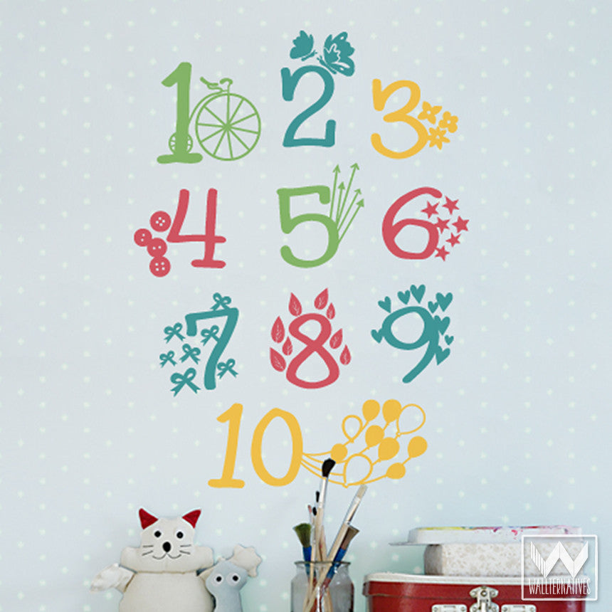 Colorful numbers and patterns vinyl wall decals cute kids wall art stickers wallternatives