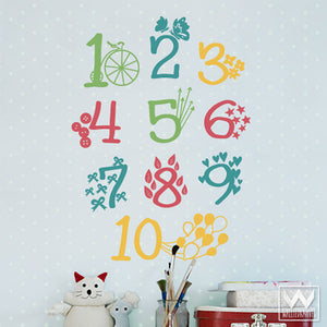 Colorful Numbers and Patterns Vinyl Wall Decals - Cute Kids Wall Art Stickers - Wallternatives