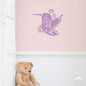 Flower and Hummingbird Vinyl Wall Decals for Kids Room or Nursery Decorating - Wallternatives