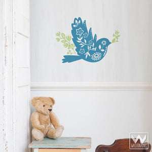 Flower and Bird Vinyl Wall Decals for Kids Room or Nursery Decorating - Wallternatives