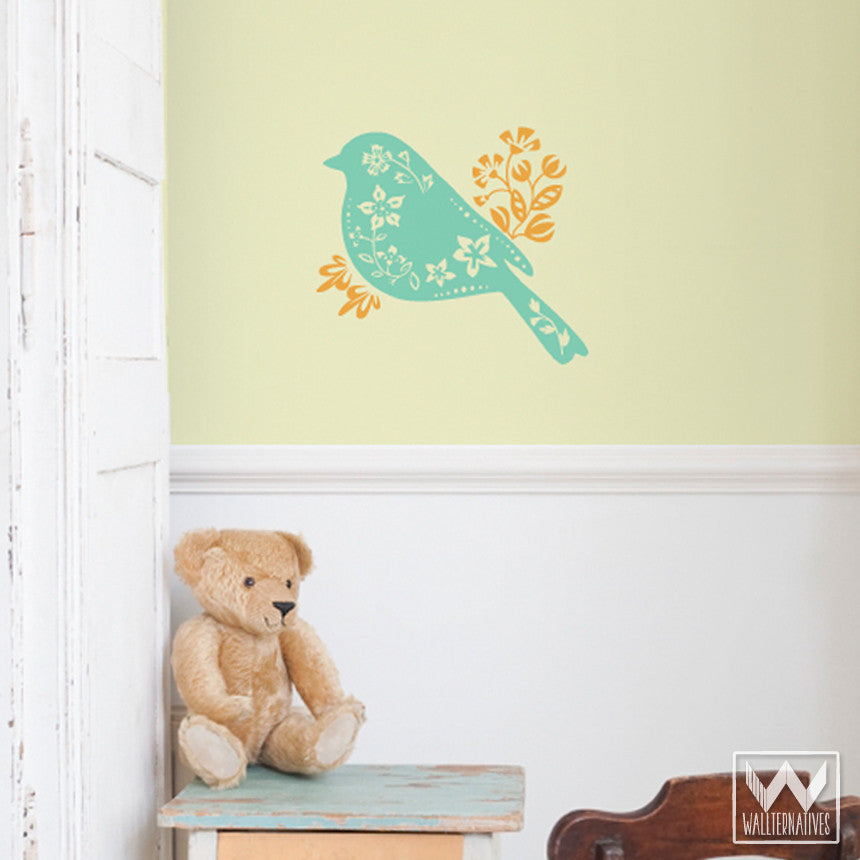 Birds and Flowers Cute Vinyl Wall Decals for Nursery Decorating - Wallternatives ... & Sing A Song Floral Bird Vinyl Wall Decal For Kids Nursery Room Walls ...