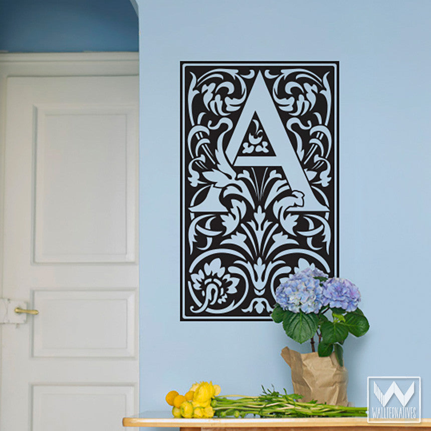 stick on monogram letter saying quote initial name vinyl wall decal wallternatives. Black Bedroom Furniture Sets. Home Design Ideas