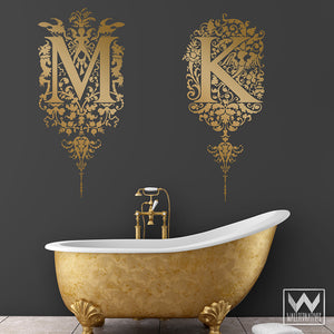 Elegant Monogram Letter Vinyl Wall Decals with Flowers and Fairies