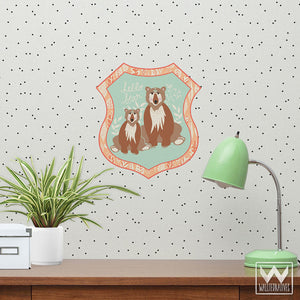 Cute Bear Wall Decor for Kids Rooms - Bear Badge Bonnie Christine Removable Wall Decals - Wallternatives