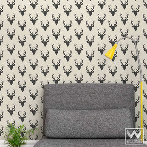 Black and White Rustic Deer Antlers Removable Wallpaper Pattern for Trendy Designer Wall Decor - Wallternatives