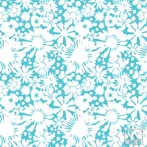 Blue and White Girls Room - Floral Flower Removable Wallpaper from Wallternatives