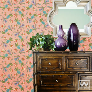 Modern Tropical Flower Pattern Removable Wallpaper - Wallternatives
