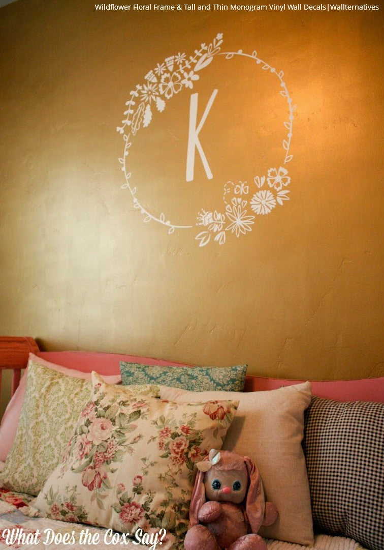 Stick On Monogram Letter Saying Quote Initial Name Vinyl Wall - Monogram vinyl wall decals