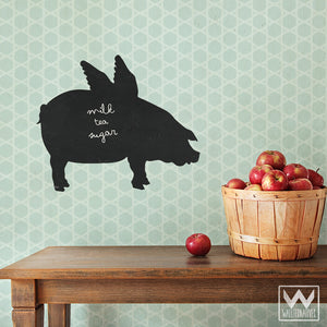 Writing on Chalk Board Wall Art - When Pigs Fly Chalkboard Vinyl Wall Decals - Wallternatives