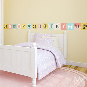 Pink Alphabet Letter Tiles for Decorating Girls Room - Wall Decals from Wallternatives