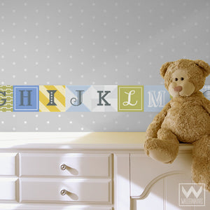 Cute Nursery Decor using Blue and Green Alphabet Scrabble Letters - Wall Decals from Wallternatives
