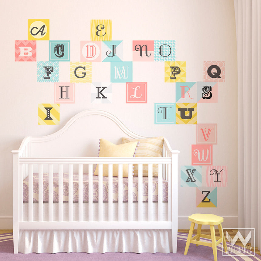 ... Cute Nursery Decor Using Colorful Pink Alphabet Scrabble Letters   Wall  Decals From Wallternatives ...