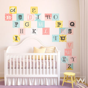 Cute Nursery Decor using Colorful Pink Alphabet Scrabble Letters - Wall Decals from Wallternatives